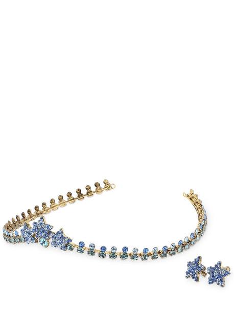 LUISA BECCARIA Crystal Tiara & Star Shape Earrings in blue