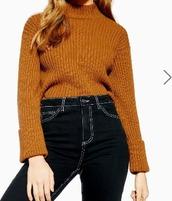sweater,jumper,ribbed jumper,burnt orange