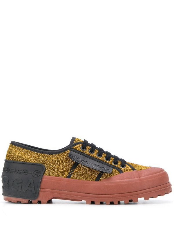 Marco De Vincenzo x Superga glitter-embellished sneakers in gold