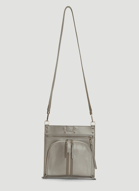Rick Owens Moon Pocket Leather Cross Body Bag in Silver size One Size