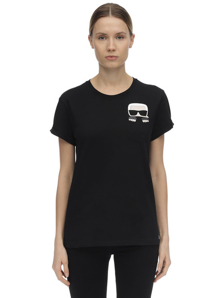 KARL LAGERFELD Embellished Cotton Jersey T-shirt in black