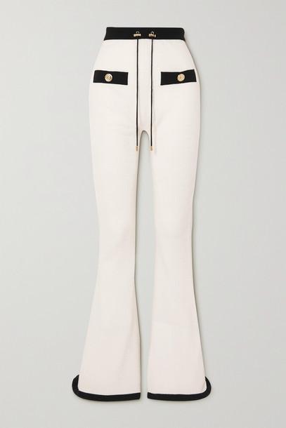 BALMAIN - Two-tone Jacquard-knit Wool-blend Track Pants - White