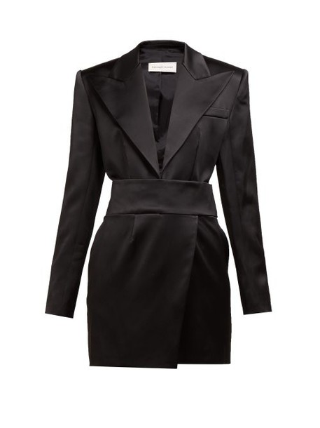 Alexandre Vauthier - Tuxedo Jacket Satin Mini Dress - Womens - Black