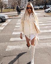 jacket,denim jacket,oversized jacket,white boots,over the knee boots,white shirt,knitwear,vest