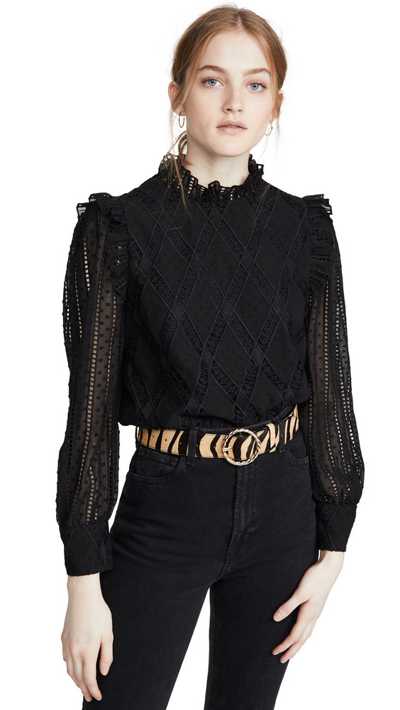 alice + olivia alice + olivia Jos Puff Sleeve Cropped Top in black