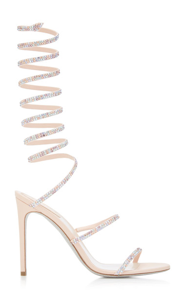 Rene Caovilla Satin Snake-Coil Sandals in pink