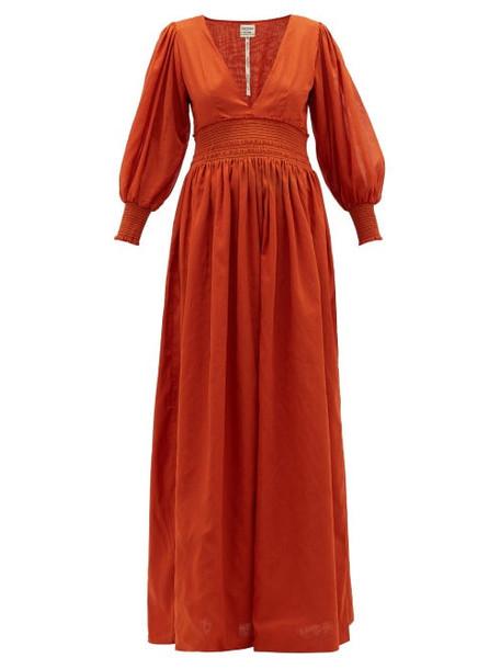 Escvdo - Ponte V-neck Shirred Cotton Maxi Dress - Womens - Red