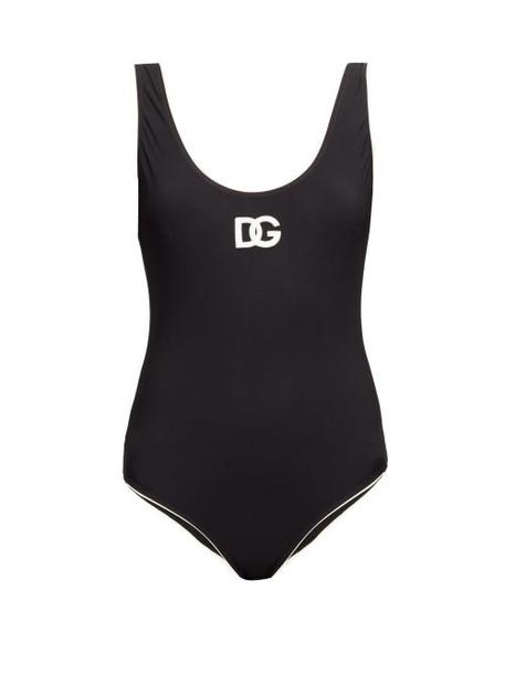 Dolce & Gabbana - Scoop-back Logo-print Swimsuit - Womens - Black