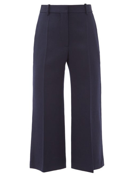 Victoria Beckham - Wool-twill Cropped Kick-flare Trousers - Womens - Navy