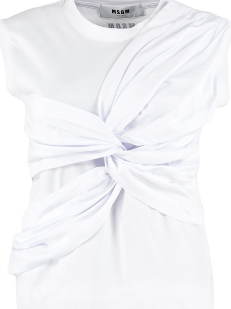 MSGM Knot Detail Cotton Top in white