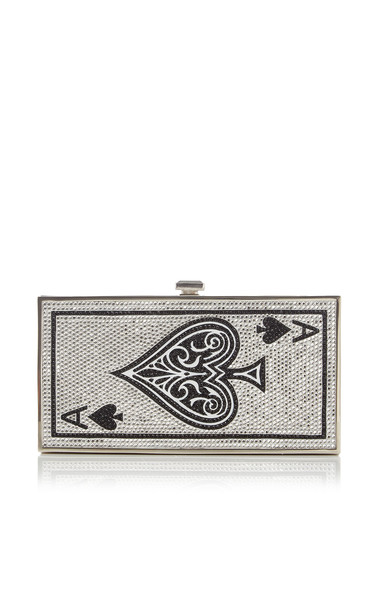 Judith Leiber Couture Ace Of Spades Crystal Clutch in silver