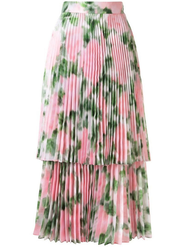 Richard Quinn floral print pleated skirt in pink