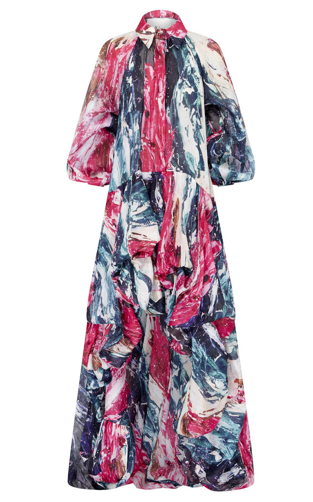 Aje Salt Lake Printed Linen And Silk-Blend Gown in multi