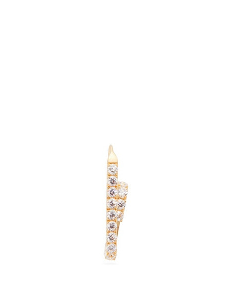 Hillier Bartley - Crystal Pavé Paper Clip Gold Plated Earring - Womens - White