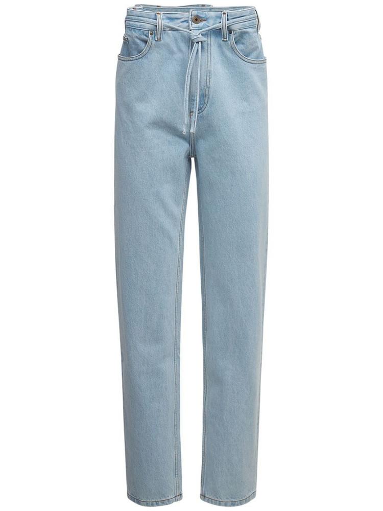 Y PROJECT Cotton Denim Paperbag Waist Jeans in blue