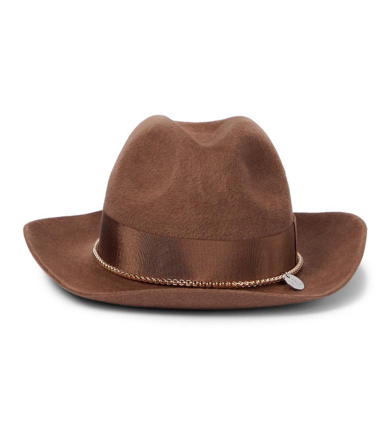 RUSLAN BAGINSKIY Embellished felt fedora hat in brown