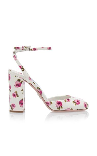 Prada Floral Block Heel Pumps in white
