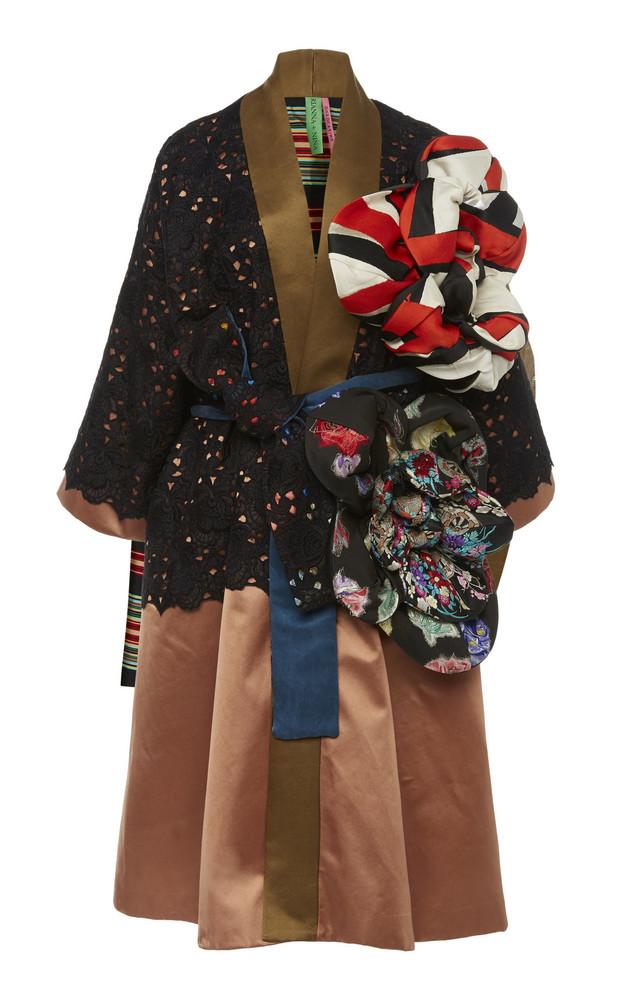 Rianna + Nina Rianna + Nina Exclusive Floral-Appliquéd Lace And Silk-Satin Coat in pink