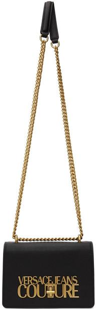 Versace Jeans Couture Black Saffiano Logo Lock Bag in nero