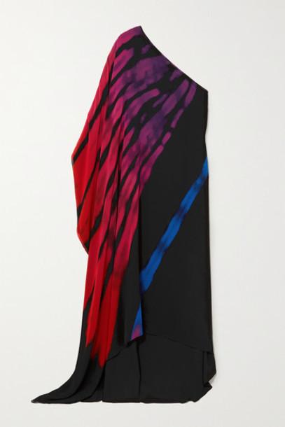 Halpern - One-sleeve Printed Chiffon Maxi Dress - Black