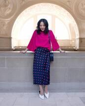 skirt,midi skirt,high waisted skirt,polka dots,zara,mules,bag,blouse