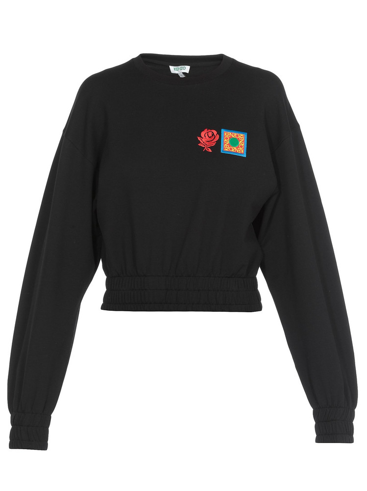 Kenzo Cropped Cotton Sweatshirt in black
