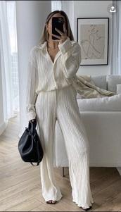jumpsuit,cream,two-piece,comfy