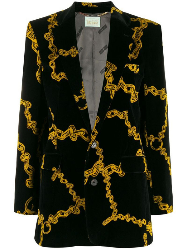 Aries chain print blazer in black