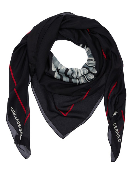 KARL LAGERFELD Karl Legend Printed Silk Scarf in black