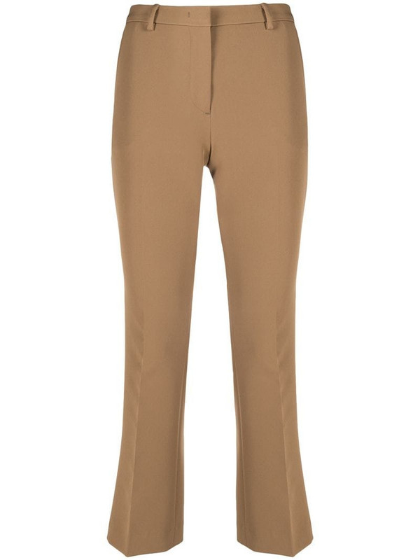 Pt01 cropped tailored trousers in brown
