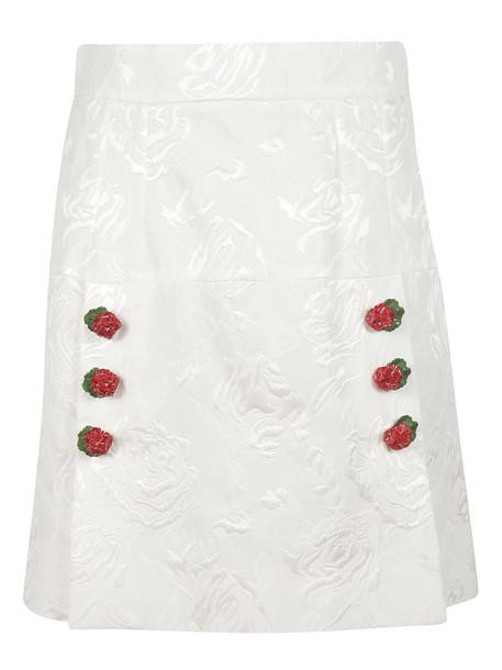 Dolce & Gabbana Floral Mini Skirt in white