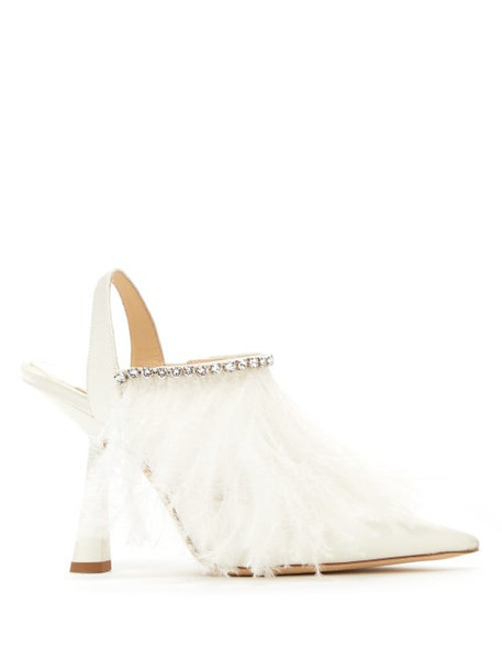 Jimmy Choo - Ambre 100 Feather-trimmed Satin Slingback Pumps - Womens - White