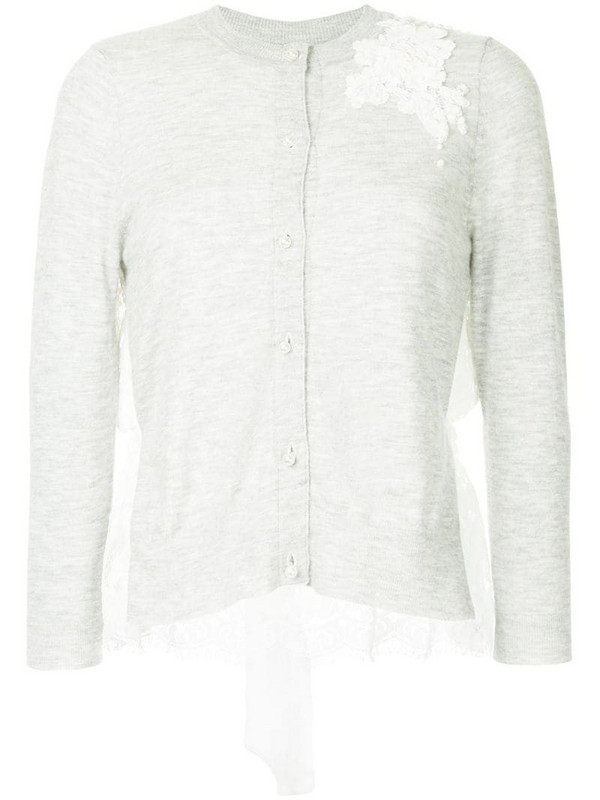 Onefifteen floral lace patch buttoned cardigan in grey