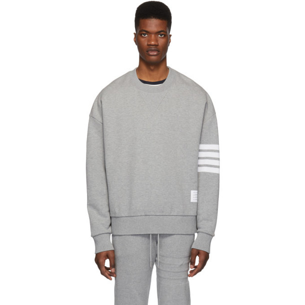 Thom Browne Grey 4-Bar Oversized Classic Sweatshirt