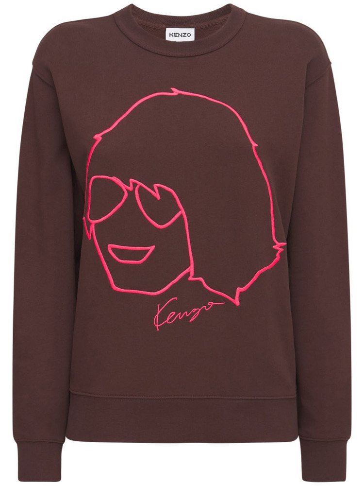 KENZO Printed Organic Cotton Sweatshirt in brown