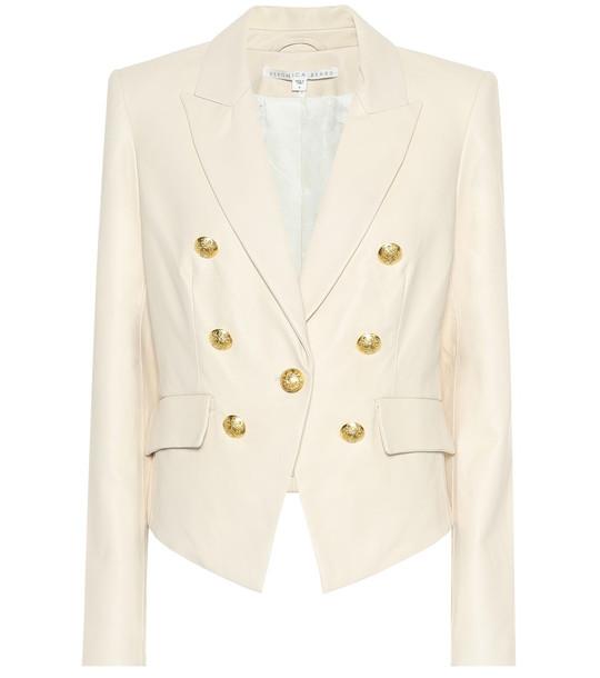 Veronica Beard Cooke leather blazer in white