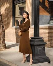 sweater,cardigan,pleated skirt,midi skirt,set,mules,brown bag