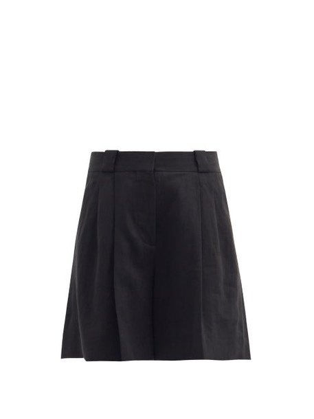 Blazé Milano - Midday Sun Cassis Pleated Linen Shorts - Womens - Black