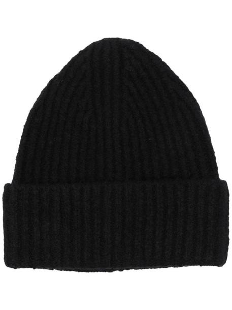 Acne Studios rib-knit beanie hat in black