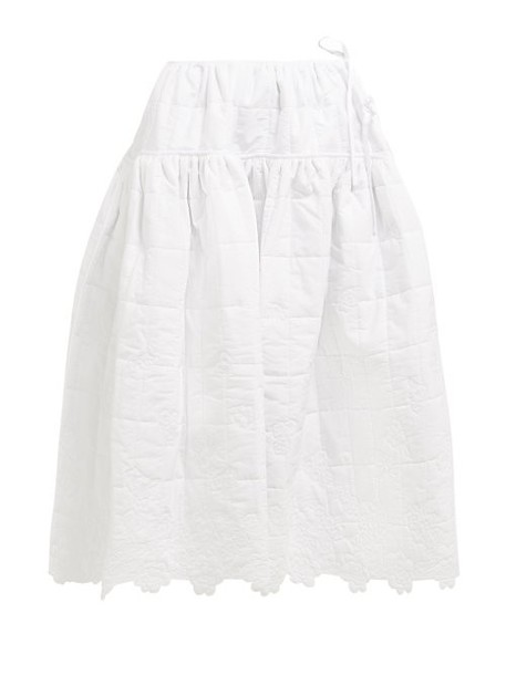 Cecilie Bahnsen - Rosie Quilted Cotton Midi Skirt - Womens - White