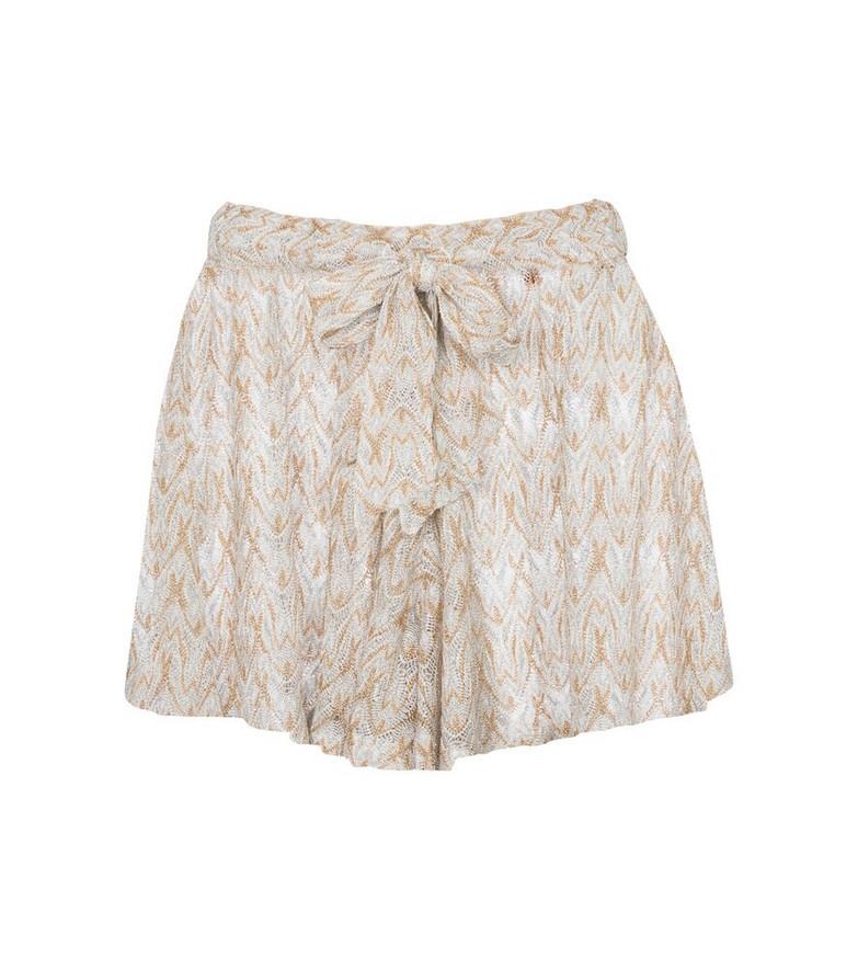 Missoni Mare Mid-rise crochet shorts in beige