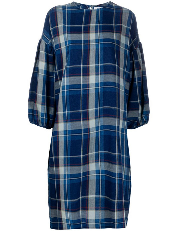 YMC checked dress in blue