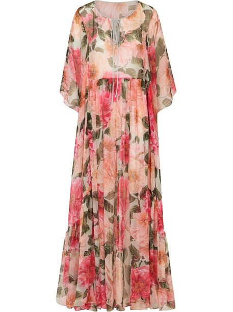 Dolce & Gabbana pleated floral-print maxi dress in pink