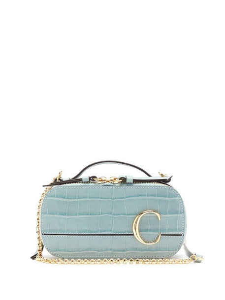 Chloé Chloé - The C Mini Croc-effect Leather Cross-body Bag - Womens - Blue