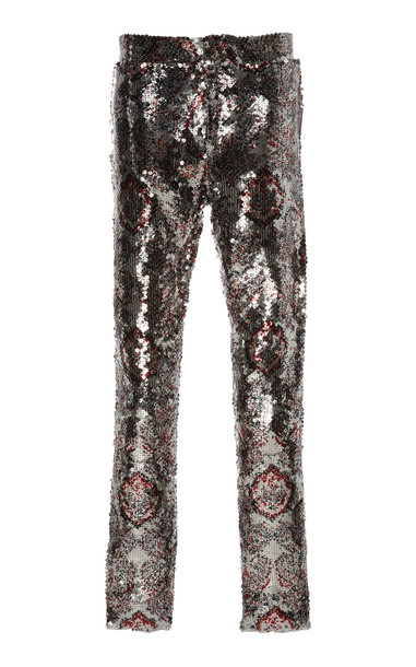 Isabel Marant Odizo High-Waisted Jacquard Pants Size: 34 in metallic