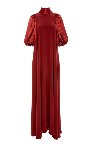 Co Satin-Trimmed Crepe De Chine Maxi Dress in red