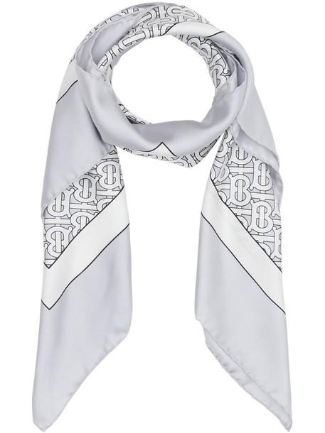Burberry monogram print square scarf in grey