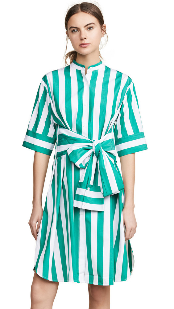 Edition10 Striped Dress in green / white