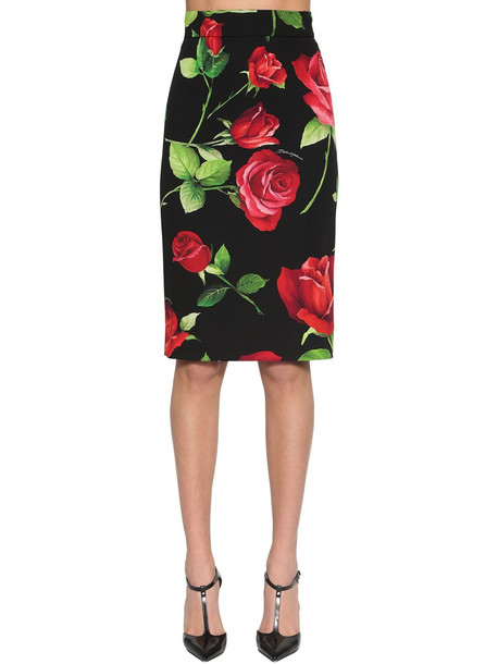 DOLCE & GABBANA Printed Stretch Charmeuse Pencil Skirt