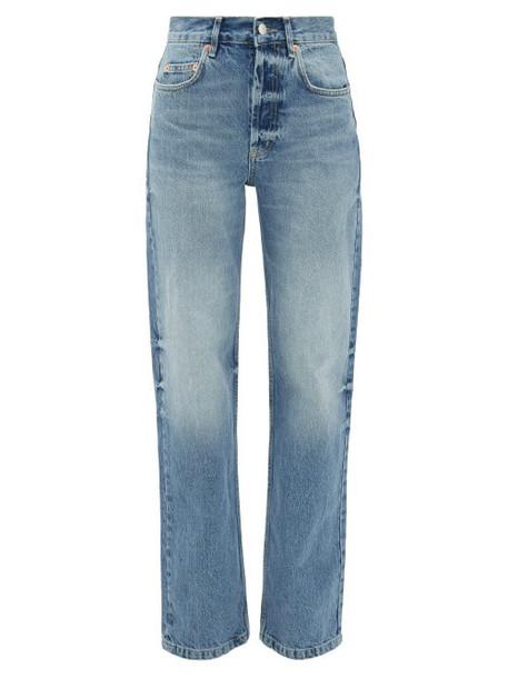 Raey - Open Unisex Faded Wide-leg Jeans - Womens - Light Blue